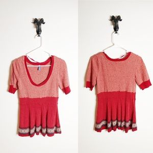 Free People Red Short Sleeve Shirt